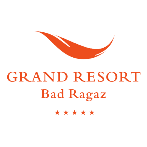 Logo Grand Resort Bad Ragaz in rot. 5 Sterne.